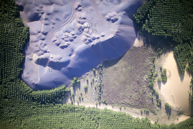 A mining operation with slag management and Acacia reforestation