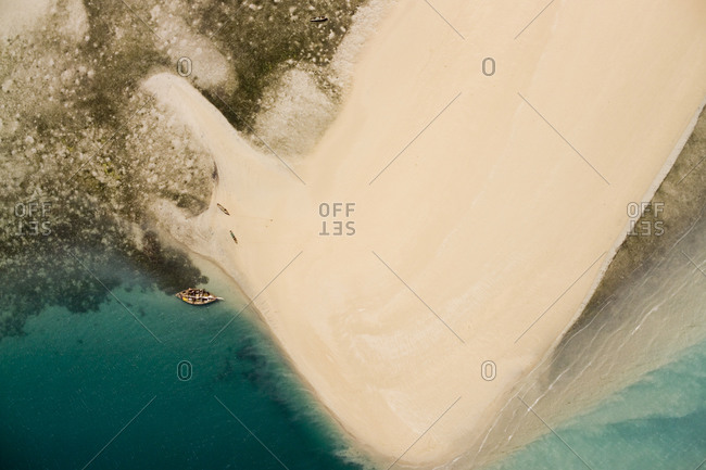 Fishermen on a sand bank on an island in the Quirimbas Archipelago