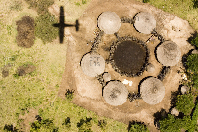 A small boma and family compound on the W side of the Serengeti Park