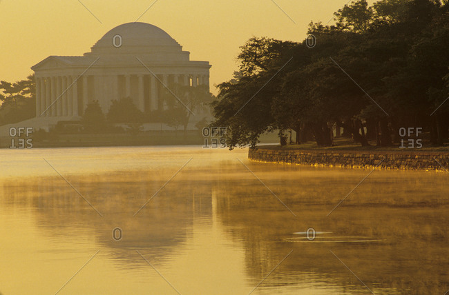 Scenic view of the Jefferson Memorial and Tidal Basin with fog