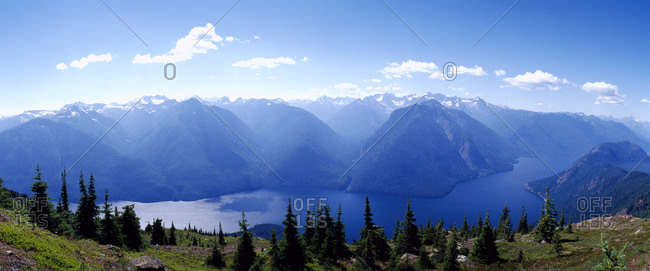 Ross Lake and North Cascades from Desolation Peak fire lookout cabin
