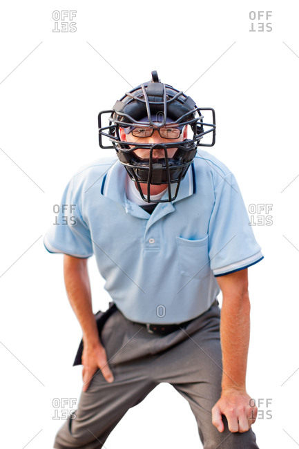 An umpire looking through his mask