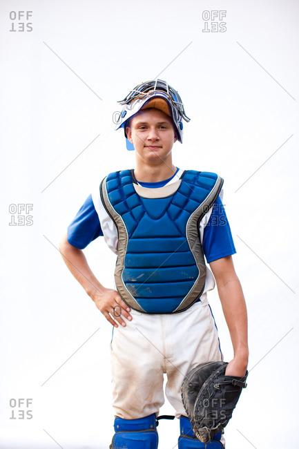 Portrait of a baseball catcher