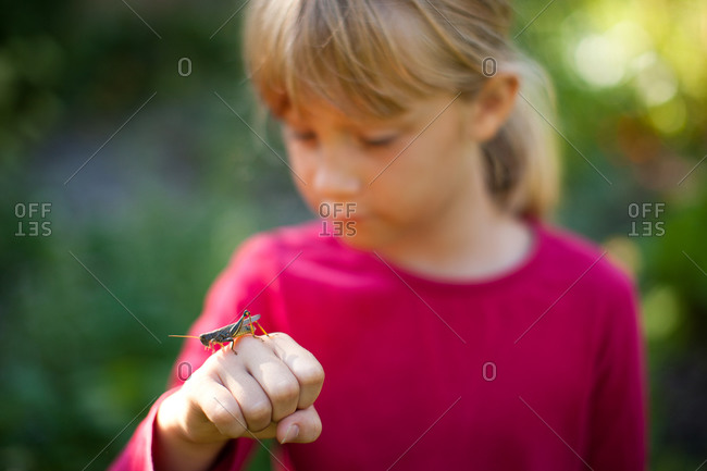 A young girl looking at a grasshopper perched on her hand