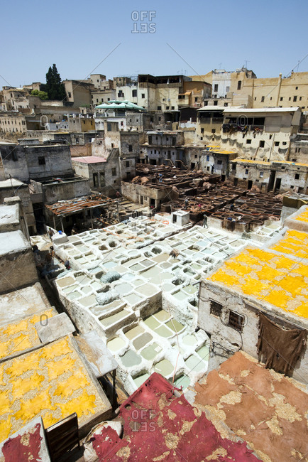 A view looking down over the famous Chouara leather tannery in Fes el-Bali, Fes, Morocco.
