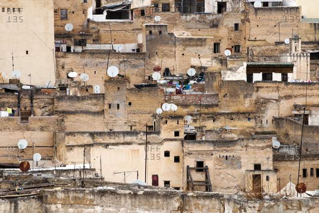 Looking out over the old medieval city of Fes el-Bali in Fes, Morocco.