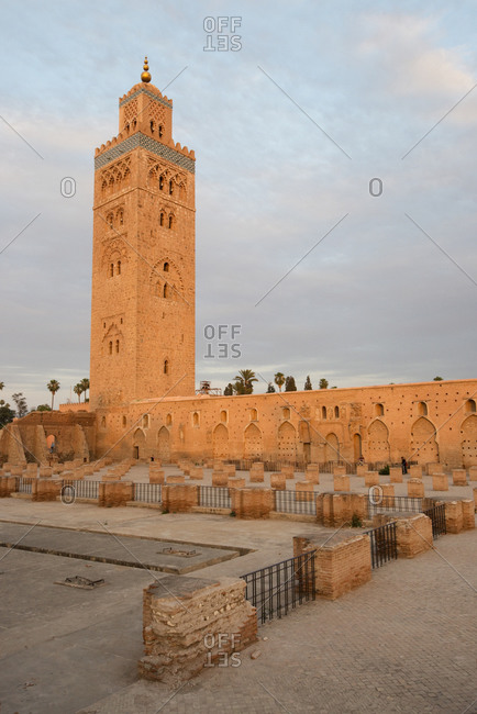 The famous Koutoubia Mosque in beautiful evening  light at sunset in Marrakech, Morocco.