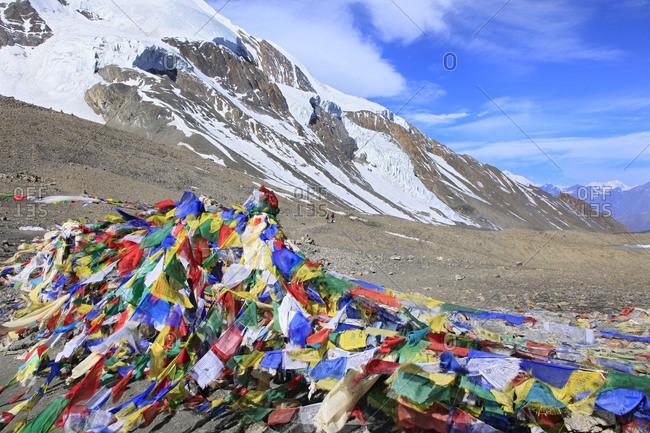 Thorung La Pass, elevation 5416 meters, one of the highest trekking passes in the world, along Annapurna Circuit trek, Nepal.