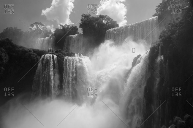 Waterfalls at Iguazu National Park in Misiones, Argentina (black and white).