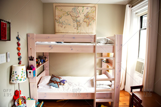 Empty kid's room with bunk bed