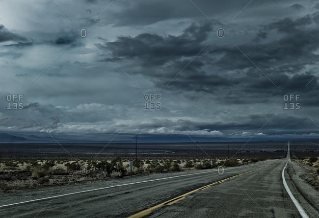 Highway crossing through the desert