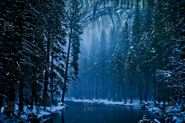 Mystic winter landscape in Yosemite Valley