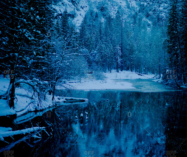 Mystic winter landscape in Yosemite Valley