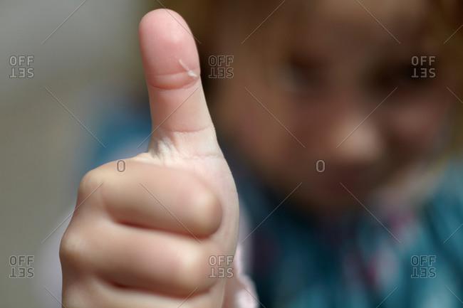 Close up of a kid's thumb