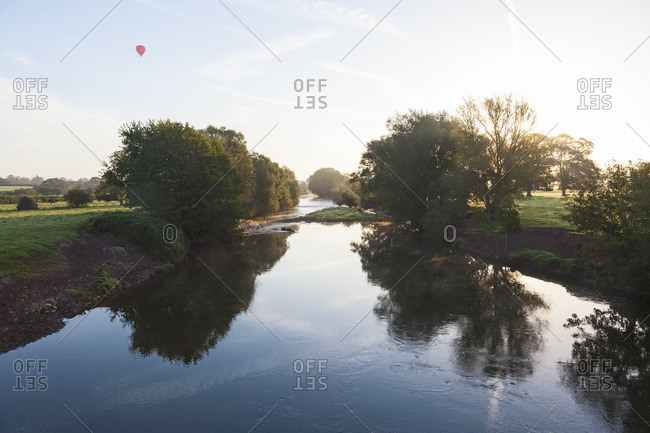 Hot air balloon and river Usk in South Wales, UK