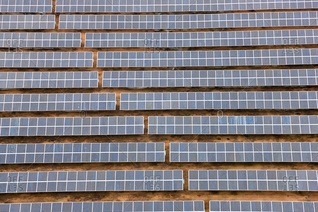 Aerial view of solar panels Huelva Province, Spain