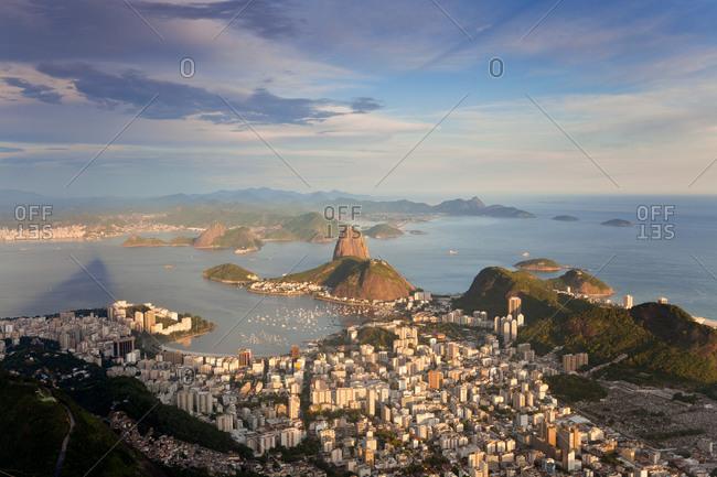 View over Sugarloaf mountain in Guanabara Bay, Rio de Janeiro