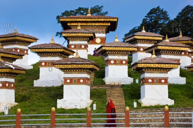 War memorial chortens or stupas Dochu La,  Bhutan.