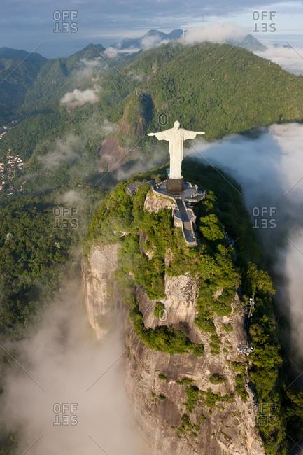 Aerial view of Christ Redeemer statue, Corcovado, Rio de Janeiro, Brazil