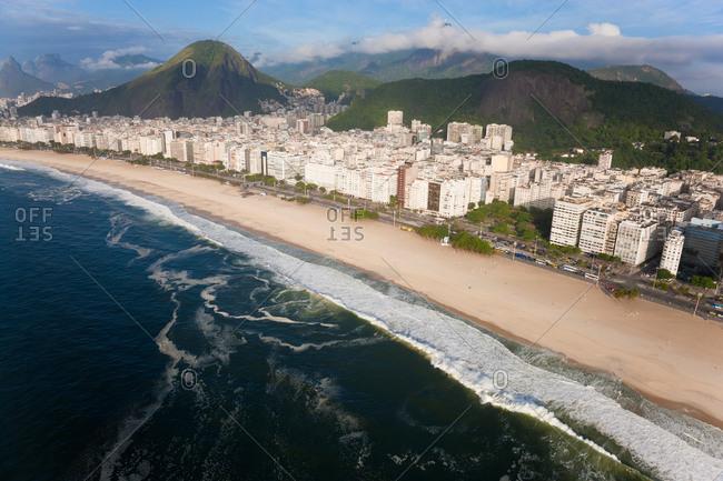 Aerial view of Copacabana beach, Copacabana, Rio de Janeiro, Brazil