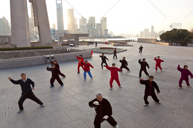 Tai Chi exercises, early morning, The Bund, Shanghai, China