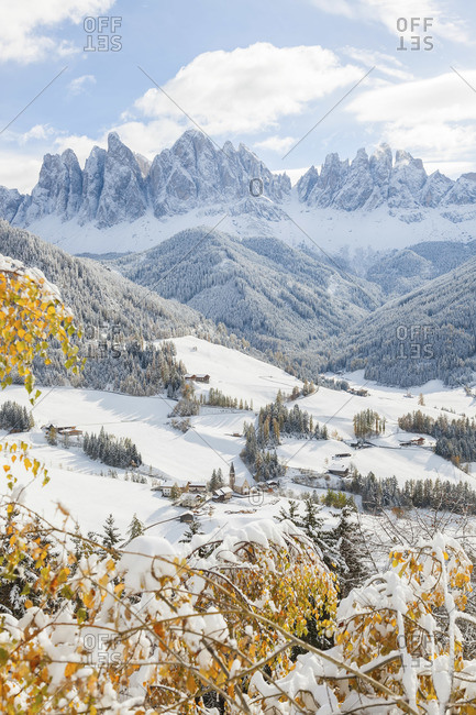 Winter landscape of St. Magdalena village in South Tirol; Italy