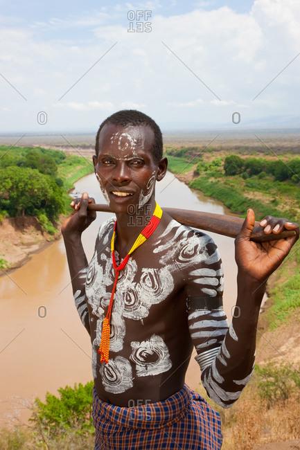 Karo tribesman with body paint, Omo Valley, Ethiopia
