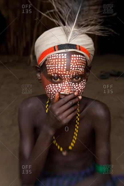 Portrait of Arbore boy in Omo Valley, Ethiopia