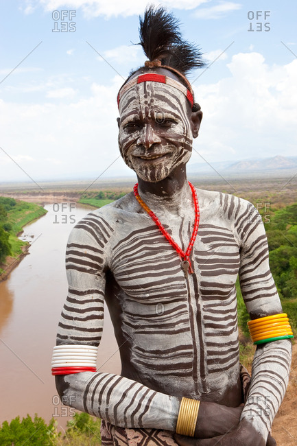 Karo tribesman with body paint, Omo Valley, Ethiopia