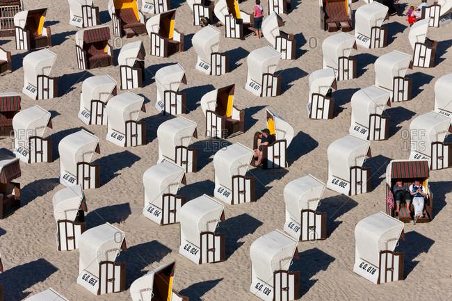 Beach baskets wicker covered seats in Sellin, Rugen Island, Germany