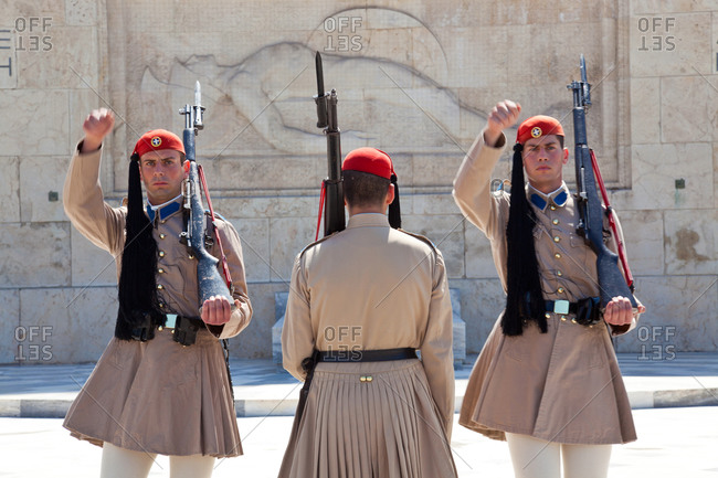 Evzones changing the guard at the Tomb of the Unknown Soldier at Syntagma Square in Athens,Greece