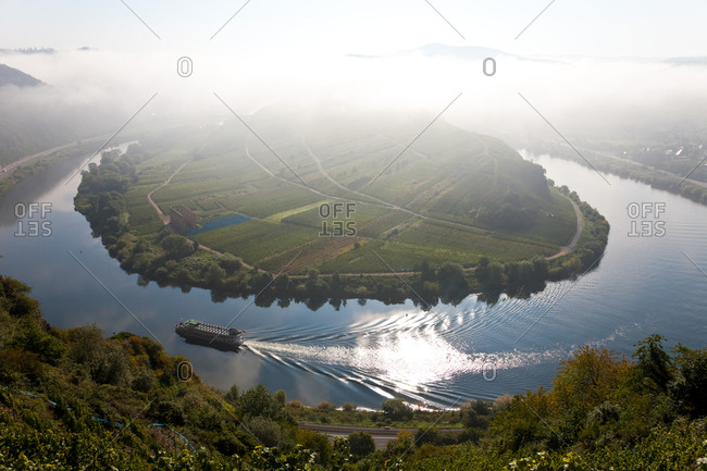 Aerial view of Moselle River and Bremm in Germany