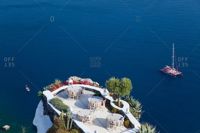 Outdoor dining area in Oia, Santorini, Greece