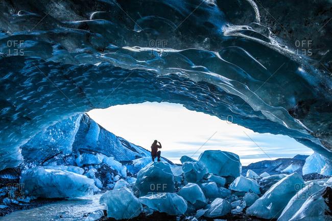 Glacial Ice Cave, Svinafellsjokull glacier in Skaftafell National Park, Iceland