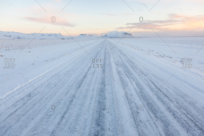 Winter road with snow in Iceland