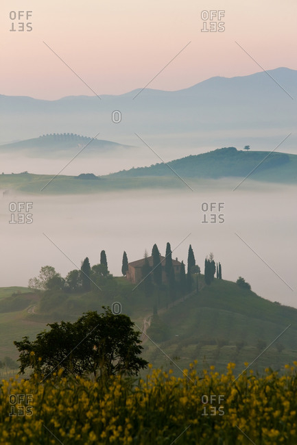 Val d'Orcia, Italy - May 5, 2009: View of Val d'Orcia in Tuscany, Italy