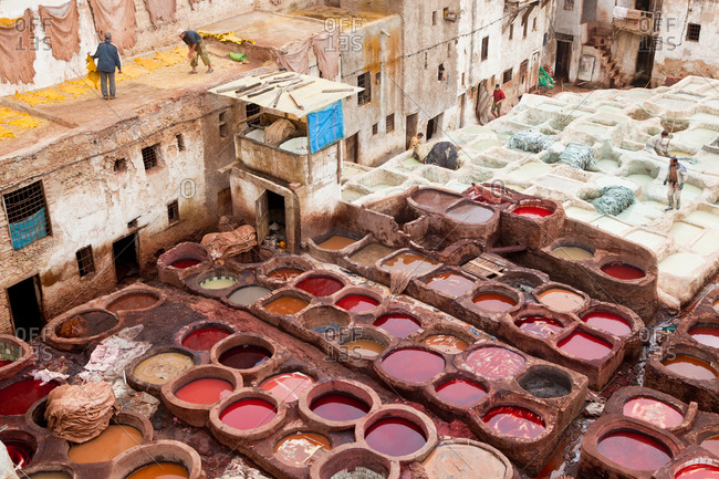 The traditional tanneries of Fez, Morocco