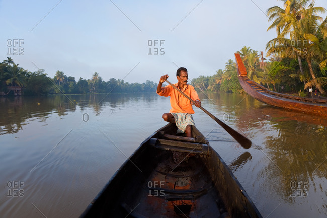 Canoe on the backwaters of Alappuzha, Kerala, India