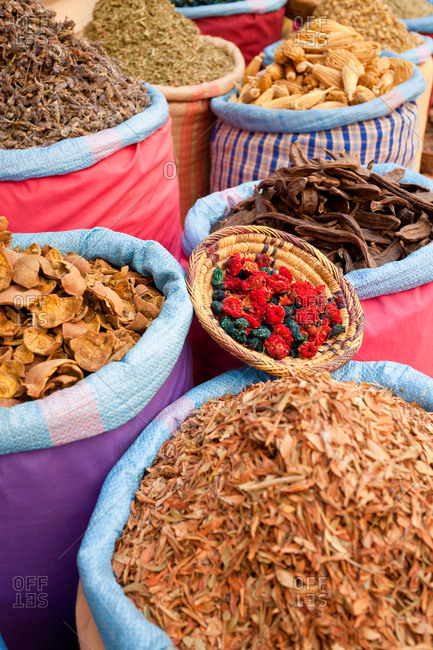 Dried flowers and herbs at the Spice Market of the souk in Marrakesh