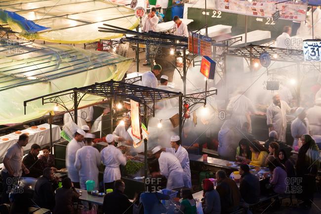 Outdoor food stalls in Djemaa el-Fna, Marrakesh