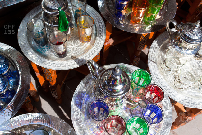 Pots of mint tea and glasses at the Souk in Marrakesh