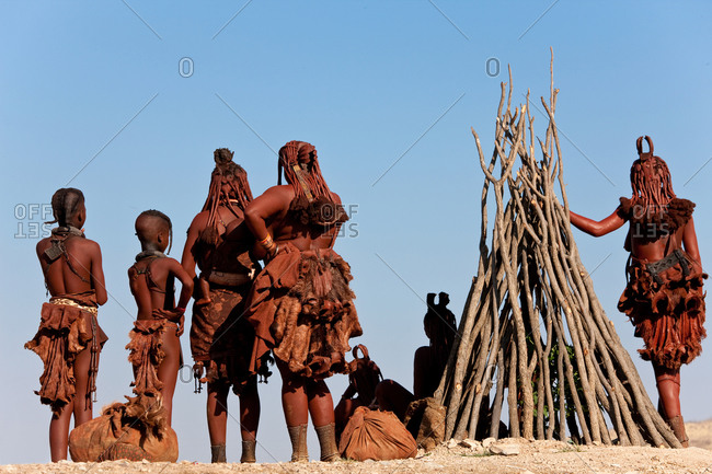 Himba tribes people in Kaokoland, Namibia