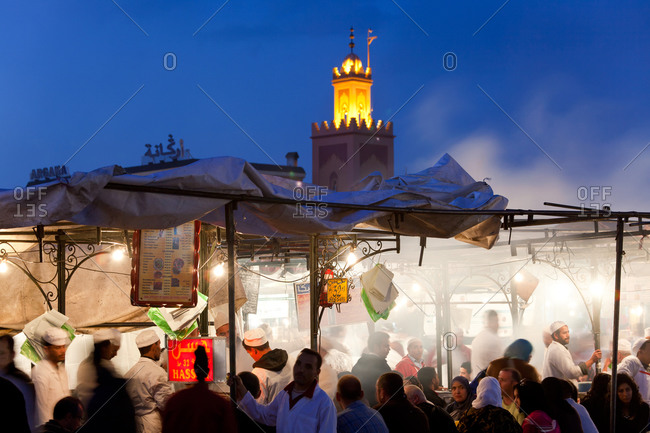Outdoor food stalls in Djemaa el-Fna, Marrakesh