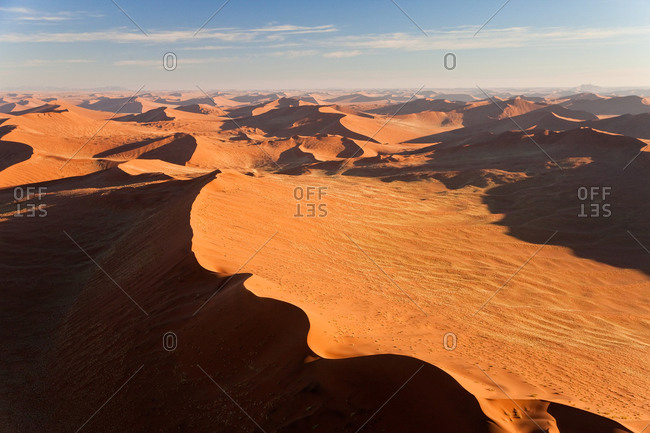 Aerial view over sand dunes, Namib Desert, Namibia