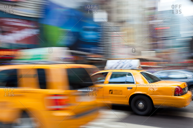 Yellow taxi Cabs, just off Times Square in Manhattan, New York