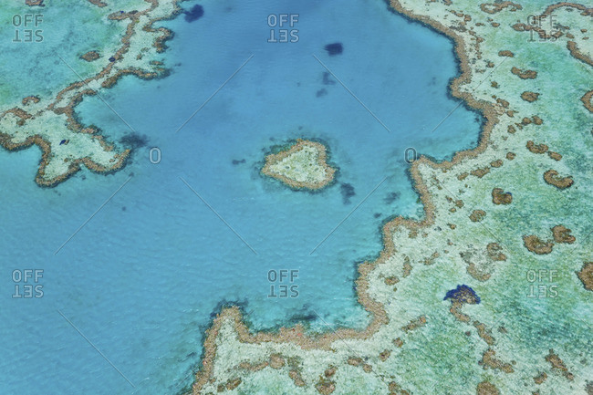 Aerial view of Heart Reef, part of Great Barrier Reef, Australia