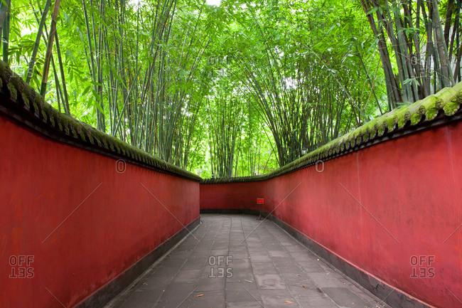 Walkway with bamboo canopy at Wuhou Shrine, China