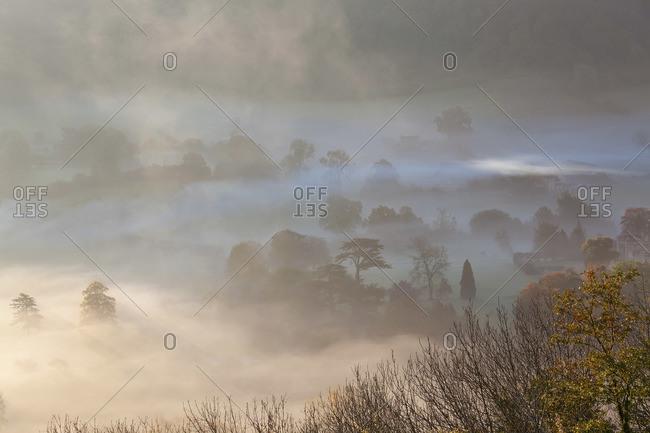 Misty autumn morning in Uley, UK