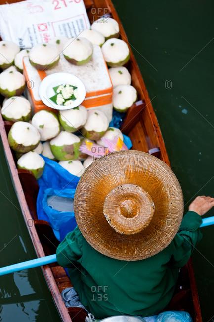 Floating market vendor, near Bangkok, Thailand