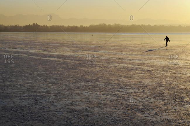 Germany, Bavaria, Lake Starnberg, Ice-skater